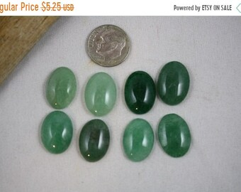 Craft Supply Sale - Green Aventurine Cabochons - 13 x 18 mm - Package of 8 stones