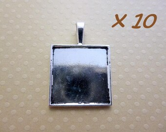 10 square cabochons 25 mm - L109962 aged silver pendants