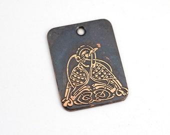 Celtic birds knotwork pendant, rectangular flat metal copper etched design, handmade jewelry supply, 25mm