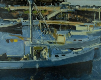 Original Oil Painting, Harbor with Fishing Boats, Perkins Cove, Ogunquit, Maine, by Robert Lafond