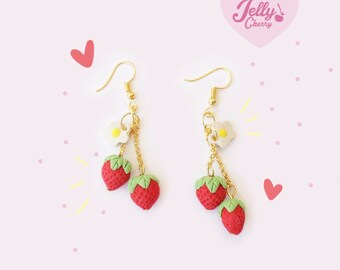 kawaii pendant strawberry earrings