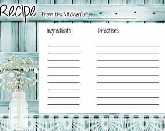 teal recipe card, rustic recipe card, you print,  printable recipe card, turquoise recipe, teal recipe card, 4 by 6