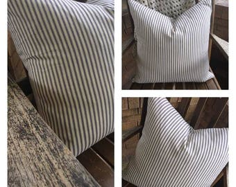 Ticking Stripe Pillow Cover | Farmhouse Pillow Cover | Farmhouse Stripe | Blue Stripe | Blue Ticking Pillow Cover- Choose Your Size
