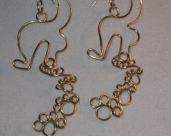 Wire Wrapped Paw Prints Tracked From The Dog Earrings