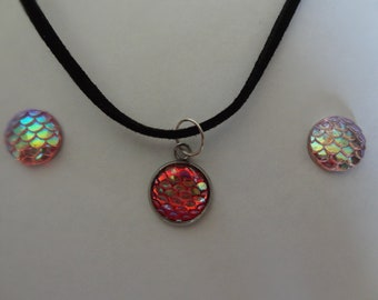 Mermaid Scale Necklace and Earring Set