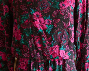 Vintage Dress - 80s Secretary Bold Pink Floral on Black
