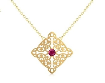 Ornate Gold Necklace, 18 Kt Yellow Gold, Gemstone : Synthetic Ruby (4 mm)
