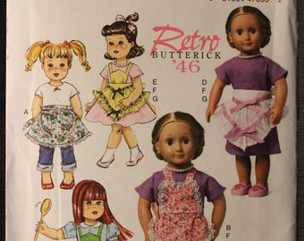 Butterick 6468   Retro 46   18 in Doll Aprons and Dress