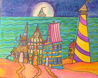Seaside Village Lighthouse, Hippie Art Original