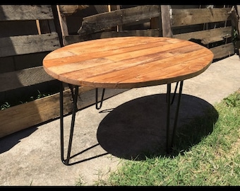 Antique walnut colored oval table/coffee table/reclaimed wood/hand made