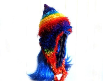 CUSTOM ORDER a Childs Rainbow Beanie with Earflaps LIKE This