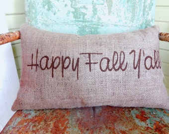 HAPPY FALL Y'ALL Lumbar Style Fall Thanksgiving Painted Decorative Burlap Throw Accent Pillow Home Decor