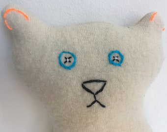 "TAIKA One of a Kind 11"" Plush Art Stuffed Animal Katie Kitty Cat Off-White Upcycled Merino Wool Handcrafted In USA"