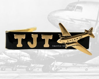 Airplane Tie Clip Personalized with Brass Letters Inlaid in Hand painted Black Enamel Tie Bar Accent Custom Colors Available