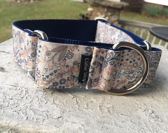 """Spring Vines on Navy -  1.5"""" Martingale Collar"""