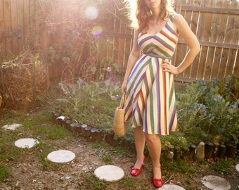 Lightweight Wool Challis Striped Chevron dress with half circle skirt-custom made to measure