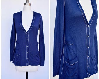 navy blue thin cardigan / small