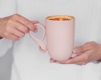 Ceramic Mug Pink Porcelain big mug MOBIUS mug coffee mug ceramic cup handmade by ENDE