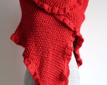 Large Size Scarlet Red Color Acrylic Yarn Valentine's Day Knitted Wrap Shawl Stole with Ruffled Trim