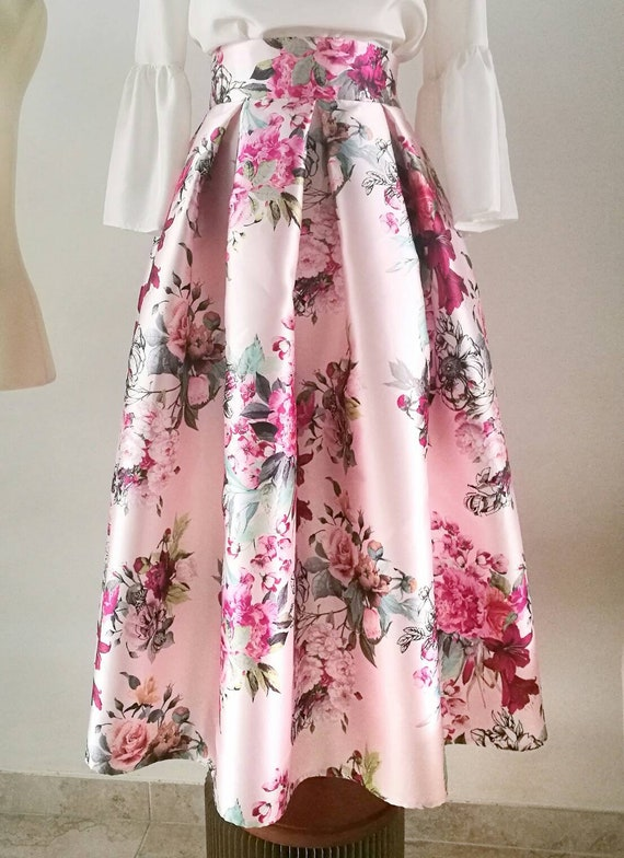 PINK PLEATED SKIRT, tea length skirt, floral formal skirt, prom skirt, printed skirt