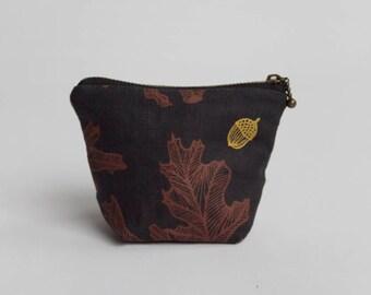 Oak & Acorn Coin Pouch. Change Purse. Small Pouch. Zipper Pouch. Card Holder.