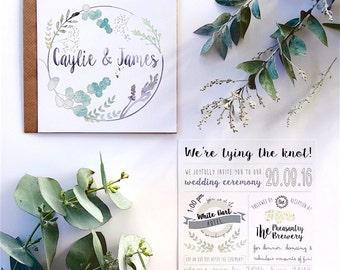 Wedding Invitations, Wedding Stationery, Custom invitations, Bespoke Invitations, Bespoke Stationery, Wreath Invitations, Foliage, Wedding