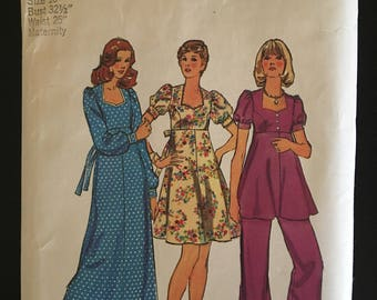 Simplicity 6049 Maternity Dress or Top and Pants 1973
