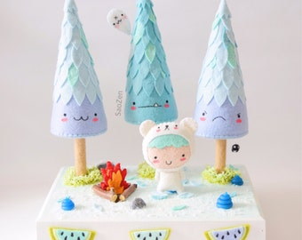 On Sale! Bear Boy + Icy Woods Limited Edition 3-Tree-Winter Diorama Plushie Set (READY TO SHIP)