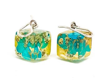 Resin Earrings - Blue and Yellow Hydrangea and Baby's Breath. Floral Earrings. Pressed Flower Earrings.  Real Flowers