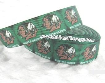 3 yards University of North Dakota - Fighting Sioux - 1 in - Printed Grosgrain Ribbon