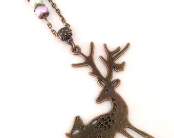 bronze deer necklace