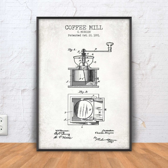 Coffee mill patent print coffee mill blueprint coffee malvernweather Images