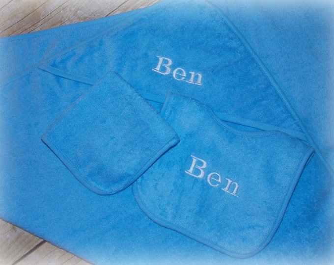 Personalized infant hooded towel set - Baby boy shower gift - Embroider bib - Baby hooded towel - Blue baby towel set -  Boy bathing set