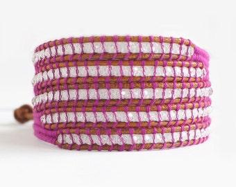 SALE 90%! Wrap Bracelet, Brown Leather Wrap Bracelet, Swarovski Crystal Beaded Bracelet, Threaded Bracelet, Multicolored, Purple Bracelets