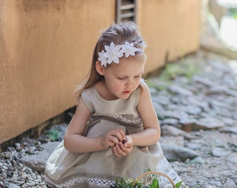 White girl headband, Flower girl headband, Baptism headband, Baby flower headband,  toddler hairpiece, Girl spring headband, Prom head bands