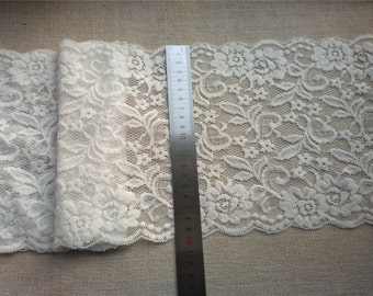 """Off white Plum flower  wedding lace,Stretch Lace Trim - Extra Wide Lace Trim, 7.8"""" Wide Lace Trim- off white lace"""