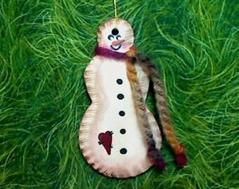 Snowman Ornament -- Primitive Hand Painted -- #1