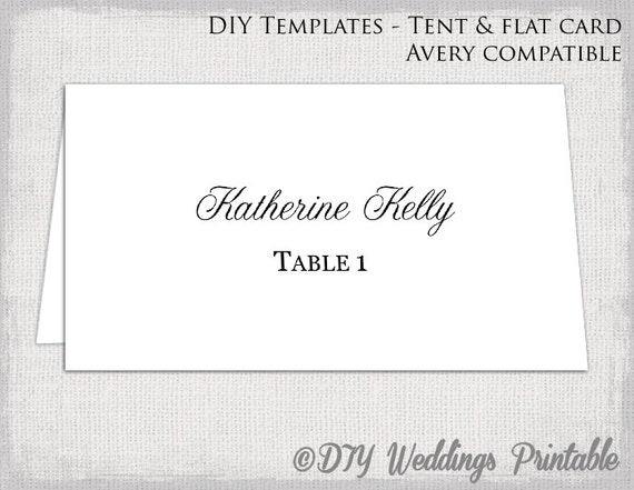 Place Card Template Tent Flat Name Card Templates - Avery place cards template