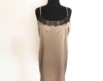 Night gown women, nightie, brown undergarment, vintage gown, lace nightgown, gift for her