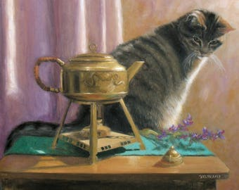oil painting // still life of tea kettle and cat // artistic work of art // hand-painted realism contemporary art