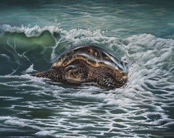 """Original Painting Sea turtle painting  """"Moonlit Surf"""" 20 x 24  acrylic on stretched canvas"""