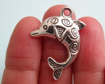 5 Dolphin Charms Antique Silver - SC542