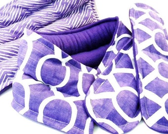 Pregnancy, New Mom Survival Kit, Pamper New Mother Gift Set, Microwave Heat Pads for Feet, Neck Back, doula relaxation set - purple