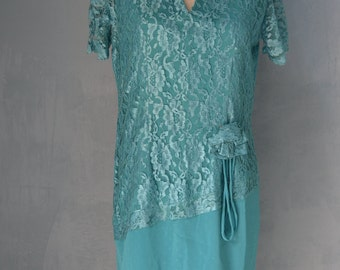 60s Romantic Emerald Green Lace Dress Free Shipping
