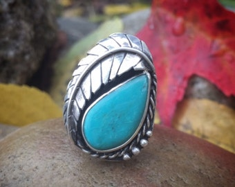 Turquoise Ring, Size 7 1/2, Sterling Silver, Leaf, Feather, Statement, Vintage Inspired, December Birthstone