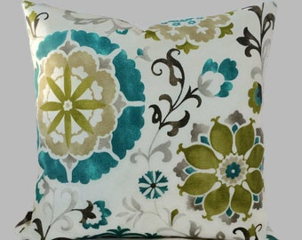 SALE - Farmhouse Pillow Teal Olive Green Outdoor Zippered Throw Pillow Cushion Cover Floral French Country Cottage Decor // 12X16 12X20