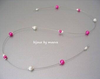 Hair Beads bride fuchsia and ivory silver thread
