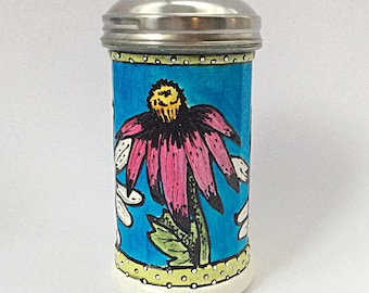 Bright coneflower  sugar dispenser painted glass