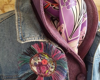 Abstract Liberty Print Brooch with Wool Fringe (Assorted Colours & Designs)