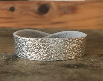 Silver Thin Cuff Leather Bracelet